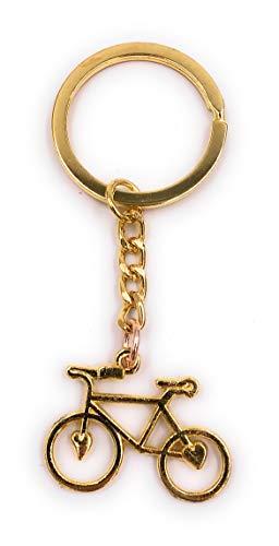 H-Customs Fahrrad mit Herzen Schlüsselanhänger Anhänger Golden aus Metall