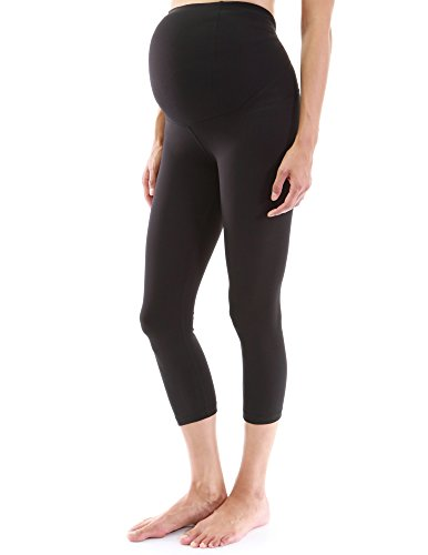 PattyBoutik Mama Shaping Series Maternity Crop Legging Yoga Pants (Black Medium)