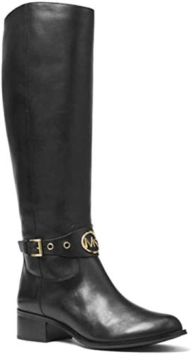 Michael Kors MK Women's Knee High Leather Heather Riding Boots Black (5.5 M US)