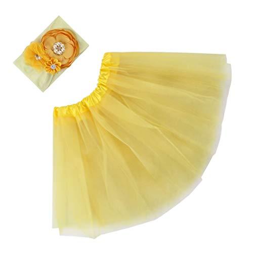 Eliky kinderen chiffon bloem hoofdband tutu rok set leuke baby-kinderen fotografie props geel