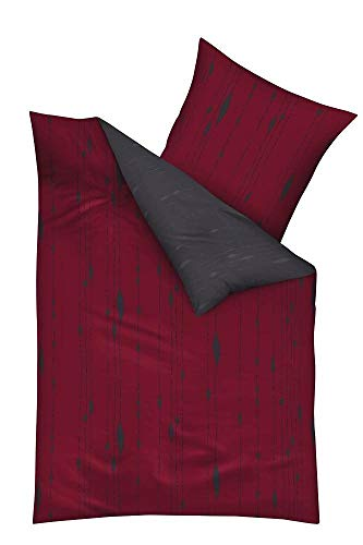 Kaeppel Mako-Satin Bettwäsche mit Reißverschluss 135x200 80x80 (684 rubin rot)