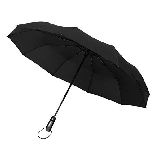 F Fityle Unisex Schirm Regenschirm Sturmfest Kompaktschirme Auf-Zu Automatik Anti-UV Regenschirm Groß Taschenregenschirm - Schwarz