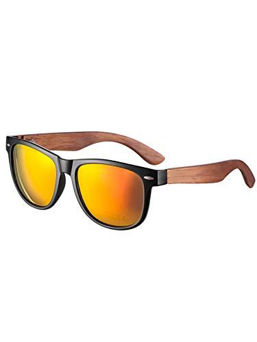 Herren und Damen Polarisierte Sonnenbrille mit Holzbügeln, UV-Schutz (Orange2)