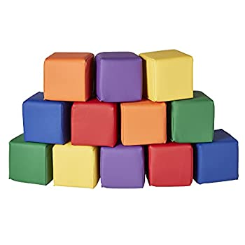 ECR4Kids-ELR-033 Patchwork Toddler Block Playset - Gentle Foam Blocks for Safe Active Play and Building Primary Colors  12 Piece Set
