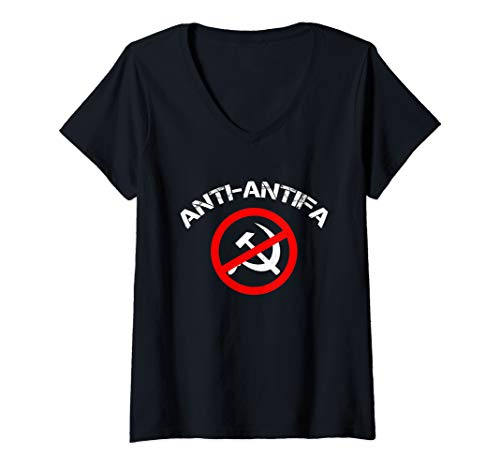Damen Antikommunistische Anti-Antifa T-Shirt mit V-Ausschnitt
