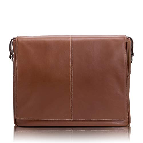 "Siamod, VERNAZZA, SAN Francesco, Napa Cashmere Leather, 13"" Leather Messenger Bag, Cognac (45354)"