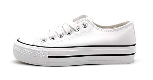 Zapatillas Blanca Negra Mujer con Plataforma Polipiel Zapatillas Suela Doble Zapatillas Bambas Deportivas Plataforma Mujer White 40