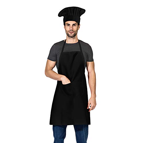 TSD STORY Black Chef Hat and Apron Set,Bib Apron in Big Size and Chef Hat, Bib Cooking Grilling BBQ Kitchen Chef Apron for Men Women Chef.(1set,Black)