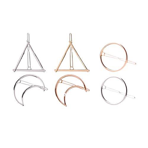 Xiton Haarklammer Trendy Spangen 6 Stück Hohl Geometric Metall Hairpin einfache Haarspange Klemmen mit Kreis Dreieck und Mond Hairpin Set