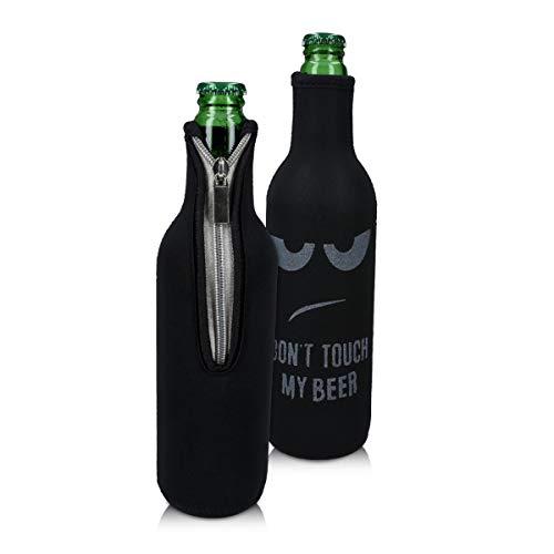 kwmobile 2x 330-500ml Flasche Flaschenkühler - für Bier andere Getränke - Neopren Kühler Don't touch my beer Weiß Schwarz