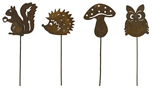 Bambelaa! Set van 4 tuinstekers roest-uil eekhoorntjes eekhoorntjes roestdecoratie voor tuin roeststekers roestige tuindecoratie