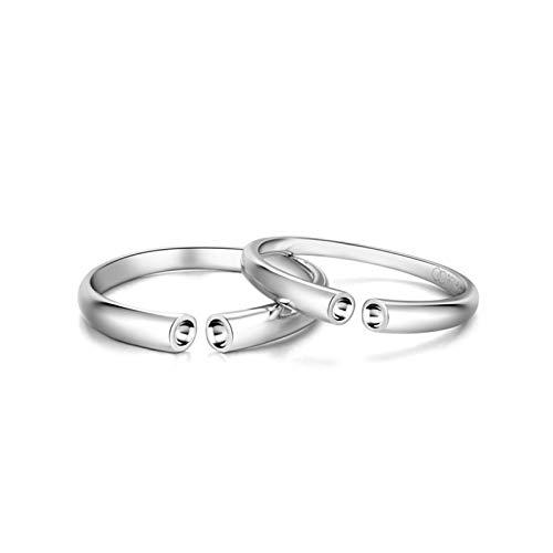 Aeici Echt Schmuck 18 Karat (750) Verlobungsring Paar Frauen Männer Ring Öffnen Silber Frauen 50 (15.9) & Herren 57 (18.1)