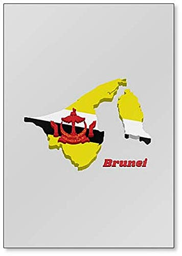 Kühlschrankmagnet, Motiv Landkarte & Flagge von Brunei