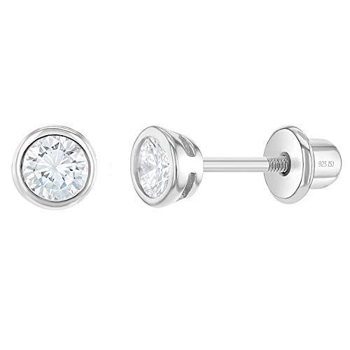 In Season Jewelry - Baby Säugling Kleinkind - Schraubverschluss Ohrringe Kleine 925 Sterling Silber Klar CZ Zirkonia