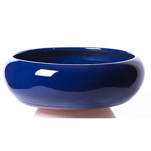 Alfareros Damian Canovas Maceta de Barro esmaltada Color Azul Cobalto Modelo Pauly 25 diametro 10 Altura