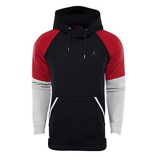 NIKE Jordan Sportswear Flight Tech Men's Pullover suéter, Negro (Black/Gym Red/Light Bone/Dk Smoke Grey 010), Medium para Hombre