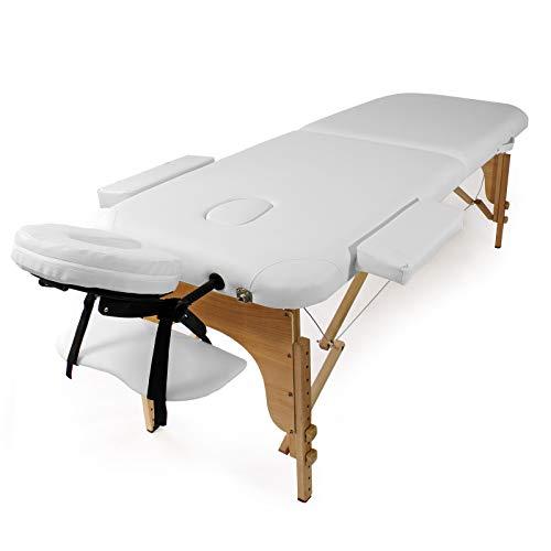 WilTec Camilla Masaje 2 Zonas Color Blanco Plegable Apoyabrazos Cosmética Masaje Estética Fisioterapia