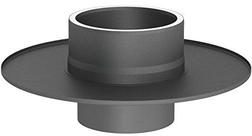 Übergangselement von einem einwandigen auf ein doppelwandiges Ofenrohr (15mm Isolierung) mit Wandfutter und Wandrosette, 150mm Innendurchmesser; gussgrau lackiert