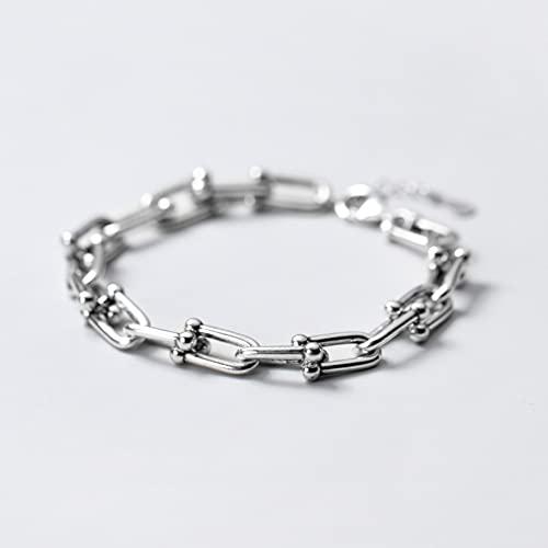 N/A Cumpleaños S925 - Pulsera de plata para mujer de plata con personalidad simple, anillo de perla ligera, hebilla hueca japonesa, regalo de cumpleaños de Navidad para el día de la madre del día de la boda