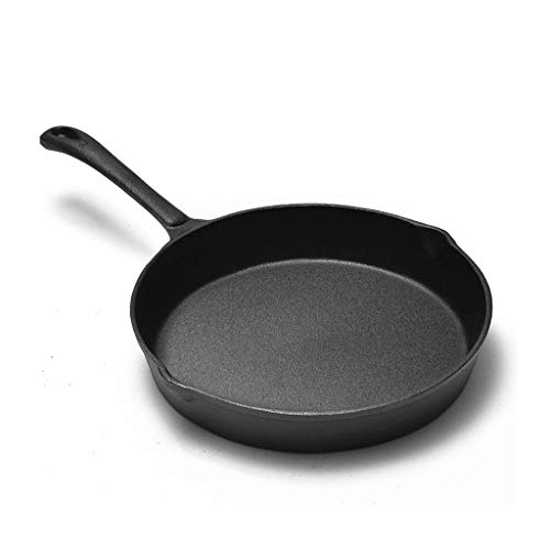BANANAJOY Cast Iron Skillet 9.8inch, pizza redonda sartén sin recubrimiento antiadherente Pan Pan de huevo