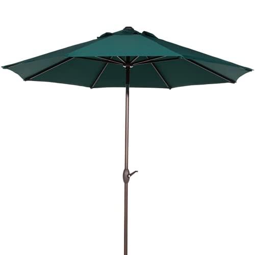 ZIK Ombrellone da Giardino per Esterno Palo Centrale in Metallo, Top in Poliestere, Reclinabile - Ø 230 cm Verde