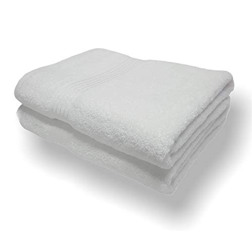 Sasma Home - 2 x sábanas de baño Jumbo (90x150cm) - 500GSM 100% algodón de fibra natural altamente absorbente - Juego de sábanas de baño grande de secado rápido (blanco) 🔥