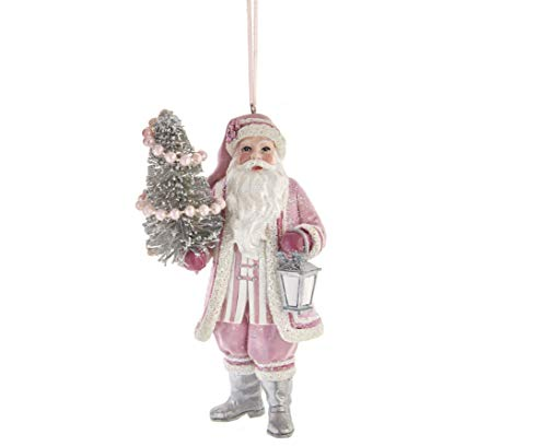 Kurt Adler Set/2 Pink Santa Christmas Bottlebrush Tree Ornament Retro Vintage Style Decor