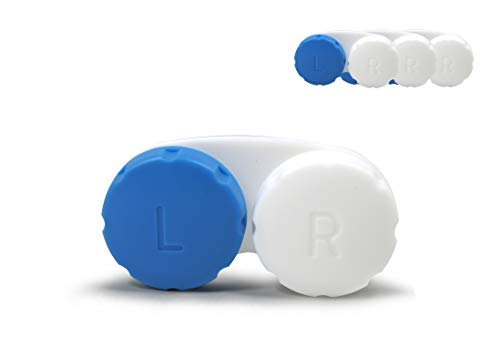 SIAH 3er Set Blau - Hochwertige Kontaktlinsenbehälter mit einem dichten Schraubverschluss und Anti-Haft Oberflächen - Kontaktlinsendose - Geeignet für Reisen