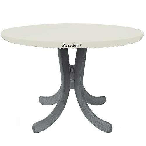 Planesium Cubierta de lona para mesa de jardín, redonda, cubierta protectora para mesa redonda, resistente al desgarro, transpirable, resistente al agua, diámetro de 140 cm x 15 cm, color blanco