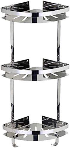 boaber Estante de ba?o Carrito de Ducha Triángulo Espacio Montaje en Pared Cesta de Almacenamiento de Cocina de Acero Inoxidable 304 Estantes de Esquina, 3 Niveles (Color : 3tier)