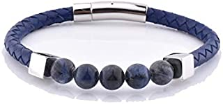 Stylish Leather and Silver Charm Sodalite Unisex Bracelet…