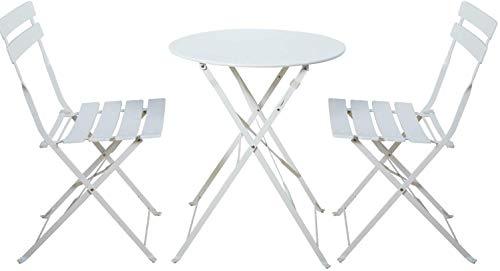 Aoboco Grand Patio ガーデンテーブル 3点セット折り畳み式テーブルと椅子、高級鋼レジャーベランダ テーブルセット、室外用テーブルテーブルチェアセット (白い)