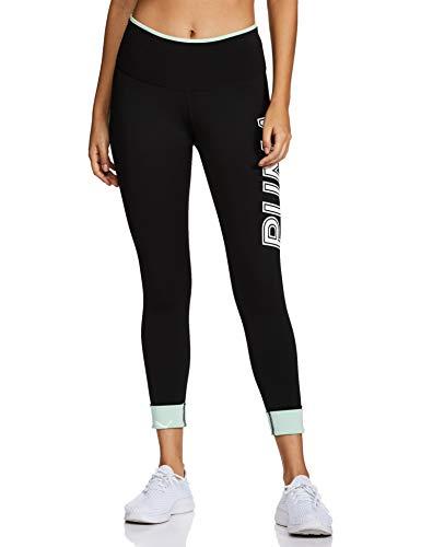 PUMA Damen Leggings Modern Sports Fold up Legging, Black/Mist Green, L, 581236