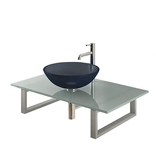 Alpenberger Designer wastafel Ø 42 cm incl. 2 roestvrijstalen console en melkglasplaat 90 cm | Moderne ronde wastafel opzetwastafel ideaal voor uw perfecte badkamer en gastentoilet