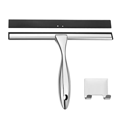 AmazerBath Shower Squeegee, Stainless Steel Glass Window Squeegee with Detachable 10 Inch Blade 6.4 Inch Longer Handle for Shower Doors Windows Kitchen Mirror Car Glass - 1 PC Extra Blade Included
