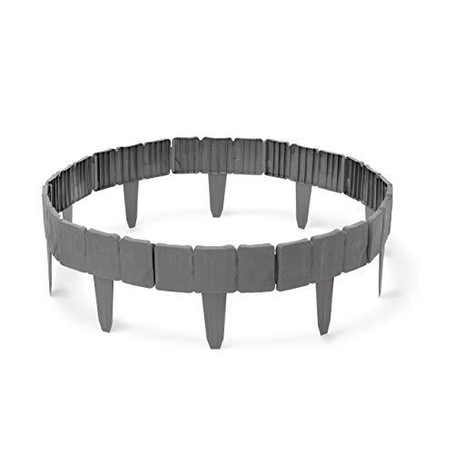 Relaxdays Borde de cesped, 10 x 250 x 2 cm, Flexible de plastico con Estilo de Piedra para cesped de Jardin, 10 Piezas de Sistema de Enchufe para Camas de Flores y Bordes de Hierba, Color Gris
