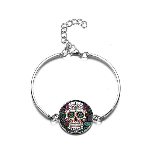 Pulsera De Piedras Preciosas Calavera Vidrio Damas Hombre Moda Joyas Día De La Muerte México Cultura Tradicional Pulsera Brazalete