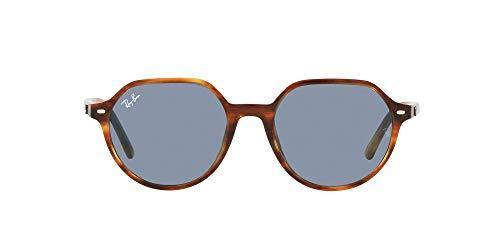 Ray-Ban Rb2195f Thalia Asian Fit Square Gafas de sol para hombre, La Habana Rayas/Azul,