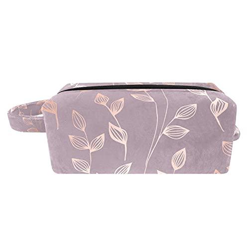 Bolsa de cosméticos para Mujeres Hoja de Oro Rosa Bolsas de Maquillaje espaciosas Neceser de Viaje Organizador de Accesorios