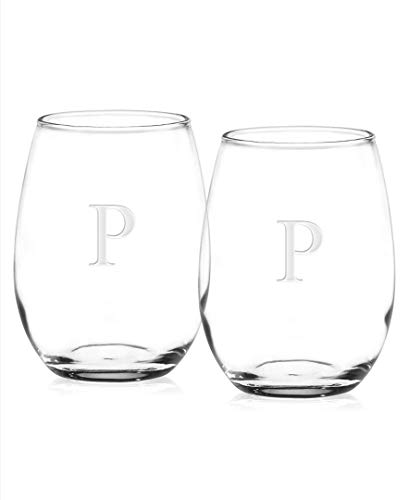 Culver Letter-P, Deep Etched Stemless Wine Glass, 15-Ounce, Monogrammed, Set of 2