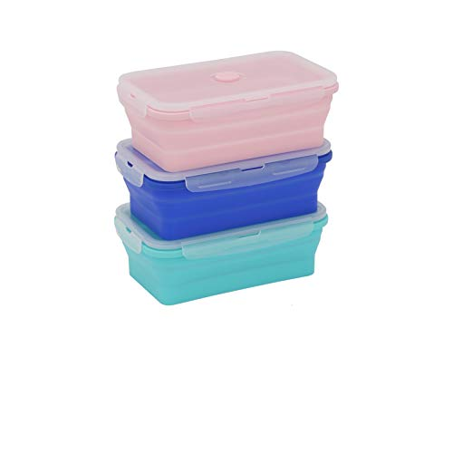 Xpork 3 Pack Set Silicone Food Storage Containers with Lids,1200ml Collapsible Meal Prep Containers Bento Boxes for Microwave and Freezer