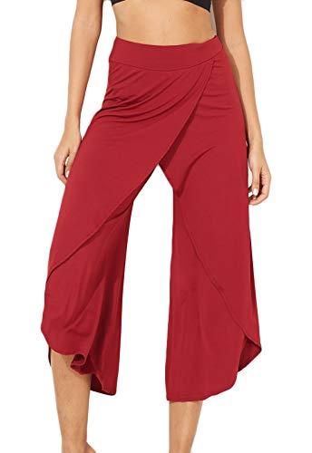 FITTOO Pantalones De Yoga Sueltos Cintura Alta Mujer Pantalones Largos Deportivos Suaves y Cómodos1080#4 Rojo XL