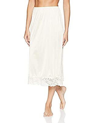 Under Moments Half Slip Vintage Style Maxi 32-Inch with All Around Lace - Large - Beige by