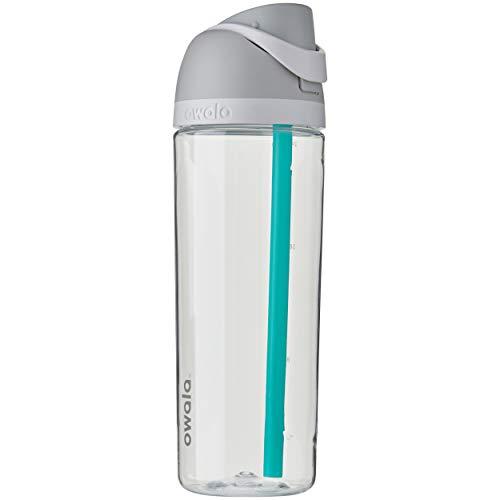 Owala FreeSip Tritan Trinkflasche mit Druckknopf und eingebautem Strohhalm, 735ml, Shy Marshmallow, 735 ml