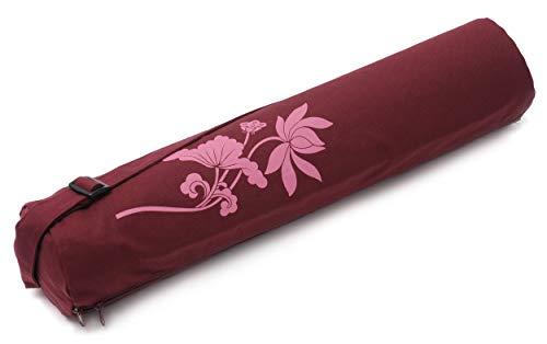 Yogistar Yogatasche yogibag® Basic - Zip - Cotton - Art Collection - 65 cm - Lotus Flower - Bordeaux