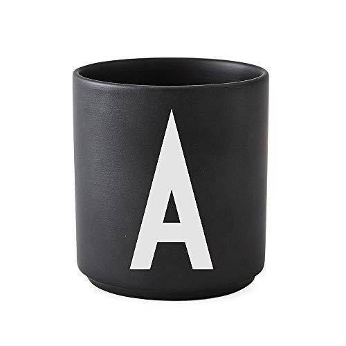 Design Letters - Becher - Buchstabentasse - Buchstabe: A - Porzellan - Schwarz - Arne Jacobsen
