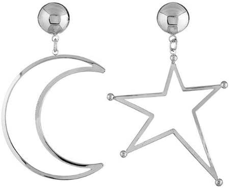 Baba Women Punk Style Jewelry Moon And Star Mismatched Earrings Ear Rings