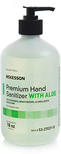 McKesson Premium Hand Sanitizer with Aloe, 18 oz Spring Water Scented Antiseptic solution - Formulized with Ethanol, Aloe, and Vitamin E to kill Kill 99% of Bacteria