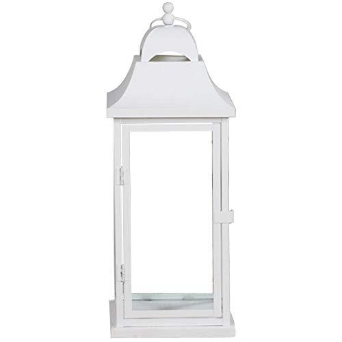 HNLHLY Kandelaar van ijzer Nordic glas handlamp windlicht decoratie kaarsenstandaard bruiloft winddicht A 18x18x47cm