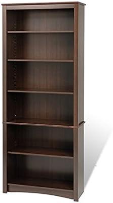 Everett Espresso 6 Shelf Modern Tall Bookcase Bookshelf